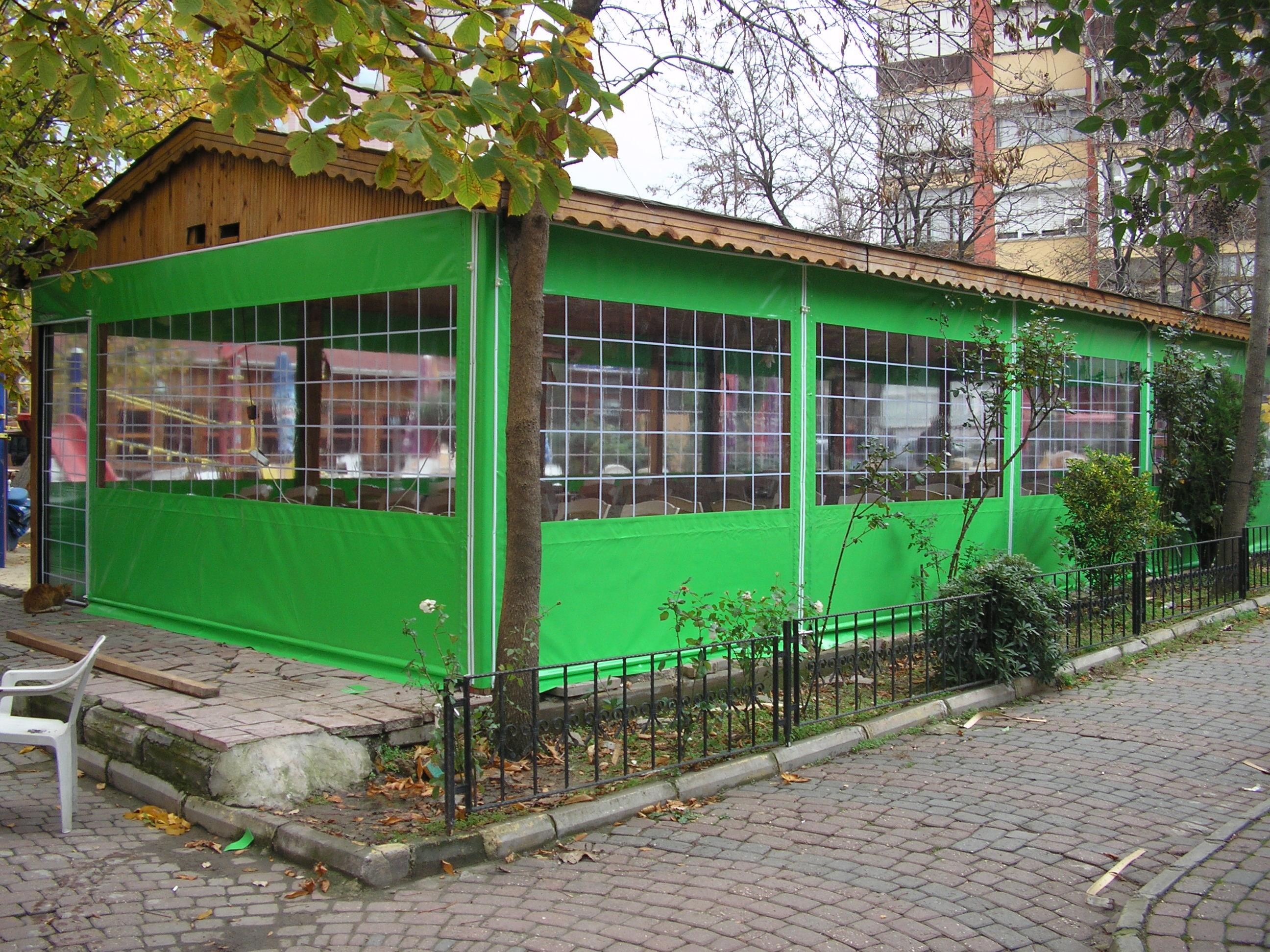 Fermuarlı şeffaf kış bahçesi branda