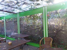 Şeffaf fermuarlı kış bahçesi